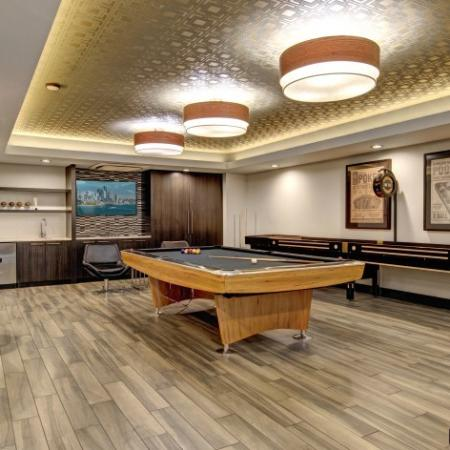 Resident Game Room with Billiards and Shuffleboard | Bedroom Apartments Hillsboro Oregon | Tessera at Orenco Station