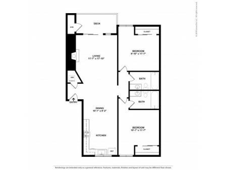 2 Bedroom Floor Plan | Apartments For Rent In Kirkland, WA | Emerson Apartments