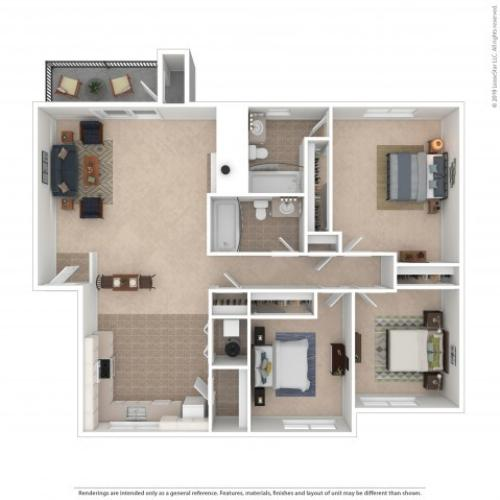 3 Bedroom Floor Plan | Apartments For Rent In Kirkland, WA | Emerson Apartments