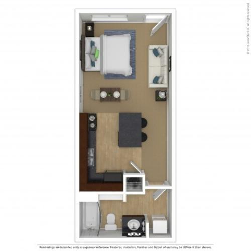 Studio Floor Plan | Apartments For Rent In Beaverton, OR | Element 170 Apartments