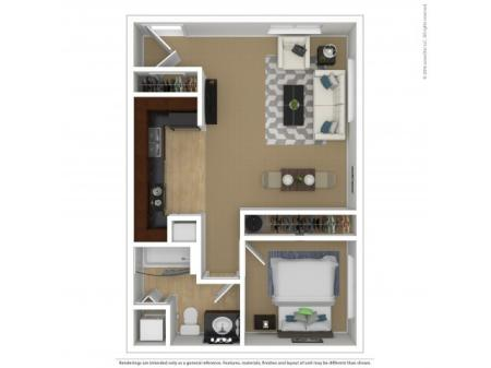 1A | One Bedroom One Bath Floor Plan | Apartments For Rent In Beaverton, OR | Element 170 Apartments
