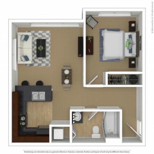 1 Bdrm Floor Plan | 3 Bedroom Apartments In Beaverton Oregon | Element 170