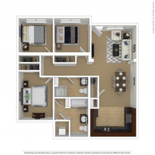 3 Bedroom Floor Plan | Southwest Portland Apartments | Element 170