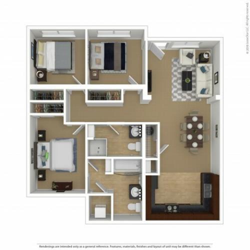 3 Bedroom Floor Plan | Southwest Portland Apartments | Element 170