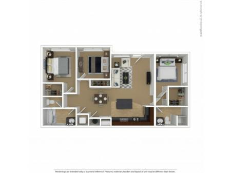 Floor Plan 2 | 3 Bedroom Apartments In Beaverton Oregon | Element 170