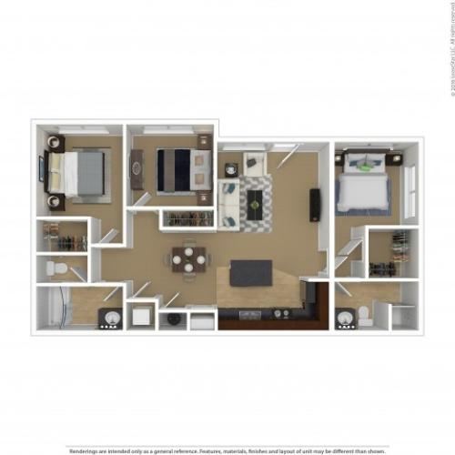 Floor Plan 2 | 3 Bedroom Apartments In Beaverton Oregon | Element 170