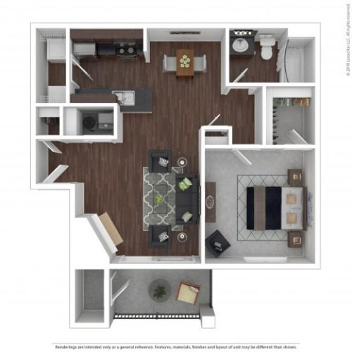 1 Bedroom Floor Plan | Apartments For Rent Castle Rock Colorado | The Bluffs at Castle Rock