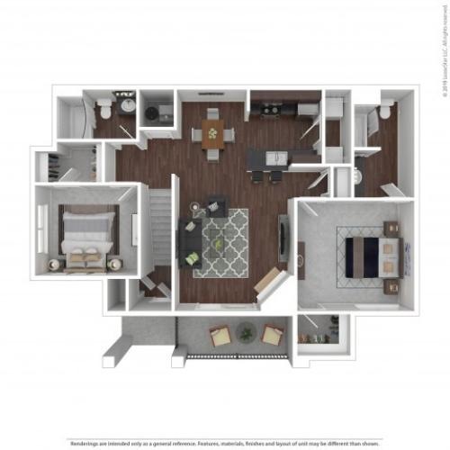 2 Bedroom Floor Plan | Apartments In Castle Rock Co | The Bluffs at Castle Rock