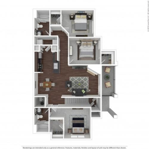 3 Bedroom Floor Plan | Castle Rock Colorado Apartments | The Bluffs at Castle Rock