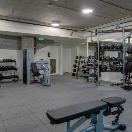 State-of-the-Art Fitness Center with Free Weights | Augusta Apartments | Apartments in Seattle