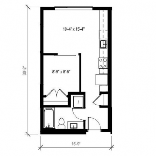 1 Bedroom Floor Plan | Augusta Apartments | Seattle Washington Apartments