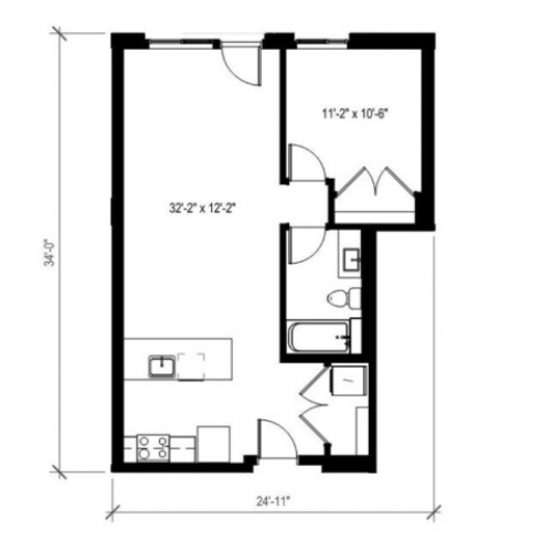 One Bedroom One Bath Floor Plan 3 | Augusta Apartments | Apartments in Seattle