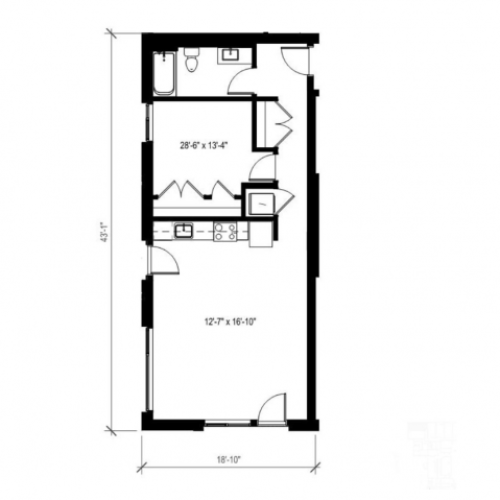 One Bedroom One Bath Floor Plan 6 | Augusta Apartments | Seattle Washington Apartments
