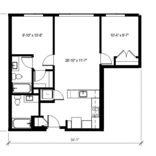 2 Bedroom Floor Plan | Augusta Apartments | Apartments in Seattle