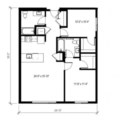 Two Bedroom Two Bath Floor Plan 6 | Augusta Apartments | Seattle Washington Apartments