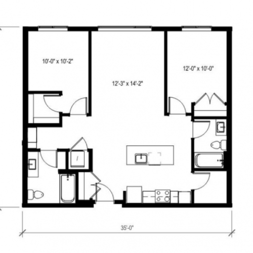 Two Bedroom Two Bath Floor Plan 8 | Augusta Apartments | Apartments in Seattle