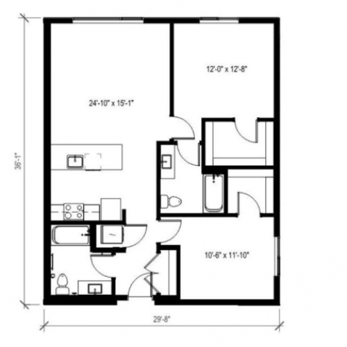 Two Bedroom Two Bath Floor Plan 9 | Augusta Apartments | Seattle Apartments for Rent