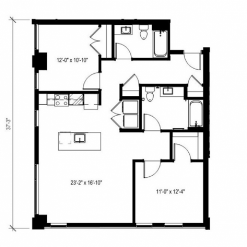 Two Bedroom Two Bath Floor Plan 10 | Augusta Apartments | University District apartments