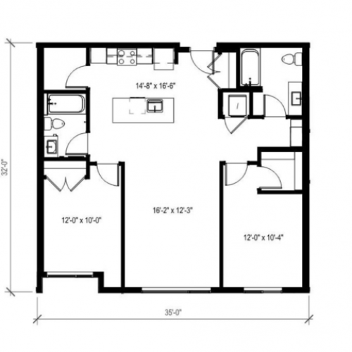 Two Bedroom Two Bath Floor Plan 11 | Augusta Apartments | Seattle Washington Apartments