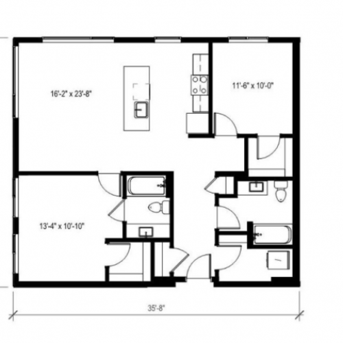 Two Bedroom Two Bath Floor Plan 13 | Augusta Apartments | Apartments in Seattle