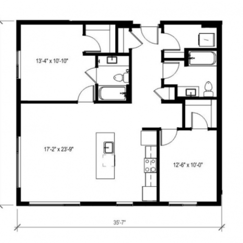 Two Bedroom Two Bath Floor Plan 14 | Augusta Apartments | Seattle Apartments for Rent