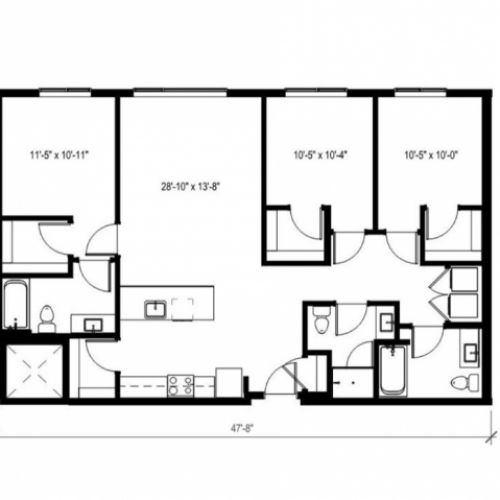 3 Bedroom Floor Plan | Augusta Apartments | University District apartments