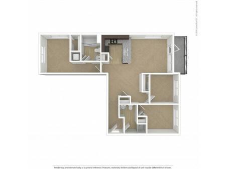 Floor Plan 3 | Apartments In Southwest Portland | Element 170