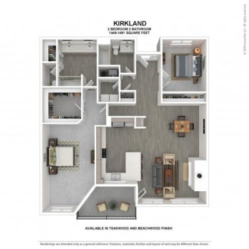 Kirkland Floor Plan | Beachwood | 2 Bedroom 2 Bath Apartment Floor Plan | Apartments For Rent in Kirkland WA | The Carillon Apartment Residences