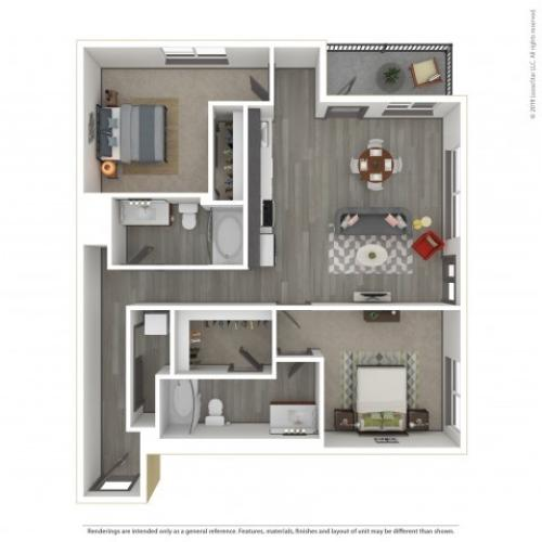 2 Bedroom Floor Plan | Apartments For Rent In Portland, OR | Sanctuary Apartments