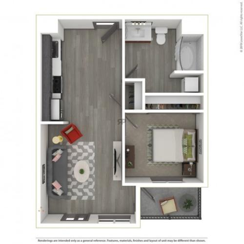 1 Bedroom Floor Plan | Apartments For Rent In Portland, OR | Sanctuary Apartments