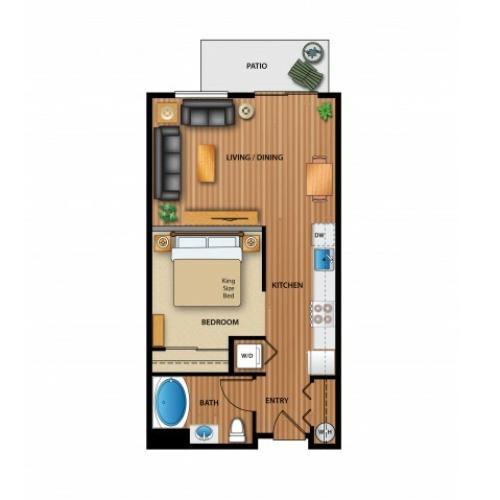 3D Image | 1 Bdrm Floor Plan | Outlook at Pilot Butte Apartments | Apartments Bend Oregon