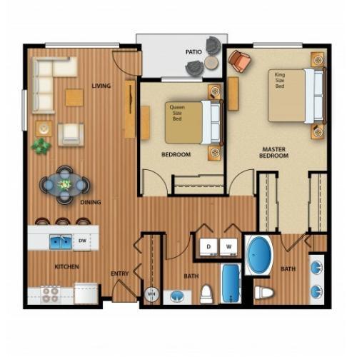 3D Image | 2 Bedroom Floor Plan | Outlook at Pilot Butte Apartments | Bend Oregon Apartments