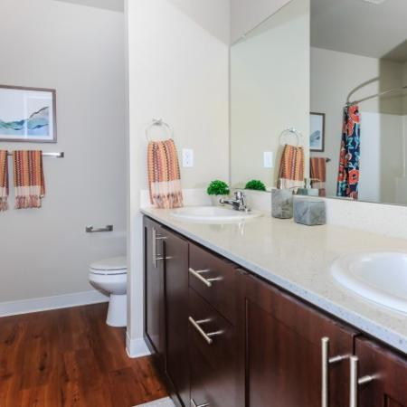 Double Vanity in Bathroom | Outlook at Pilot Butte Apartments | Apartments For Rent Bend Oregon