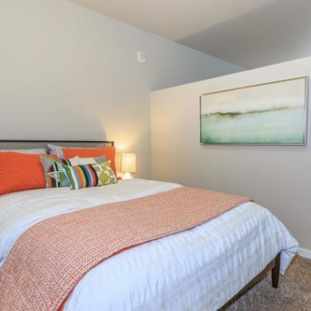 Neutral colored walls and carpet in spacious bedroom. | Outlook at Pilot Butte Apartments | Apartments Bend Oregon