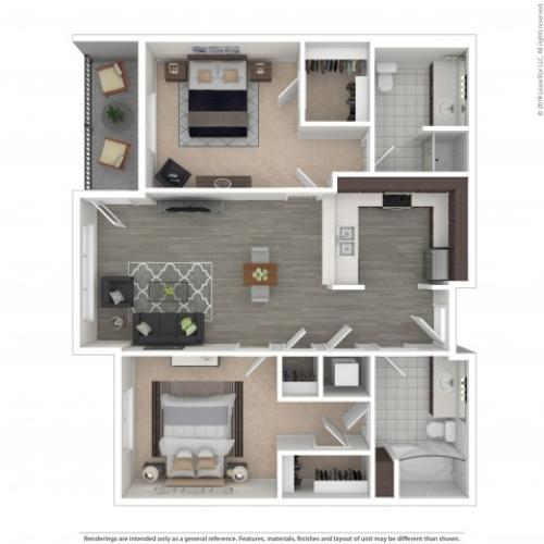 2 Bedroom Floor Plan | Apartments For Rent In Seattle, WA | Pratt Park Apartments