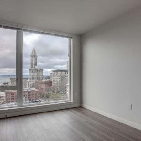 City View from Window in Living Area | HANA Apartments | Seattle Studio Apartments