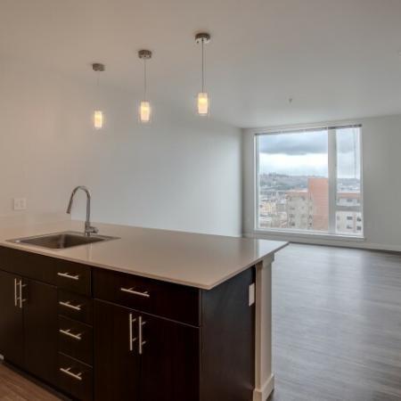 Work Island in Spacious Kitchen | HANA Apartments | Apartments In Seattle Washington