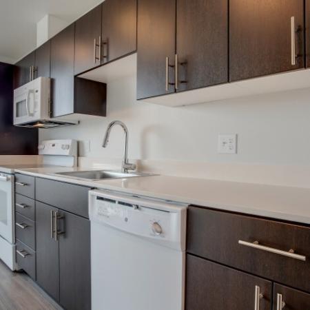 Kitchen Cabinetry & Appliances | HANA Apartments | Apartments Seattle WA