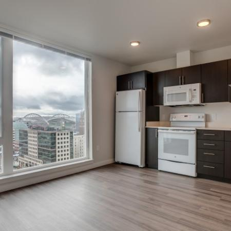 Kitchen  with Large Windows | HANA Apartments | Seattle Apartment For Rent