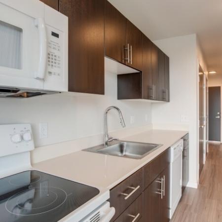 Kitchen Appliance Details - Range & Sink | HANA Apartments | Apartments Seattle WA