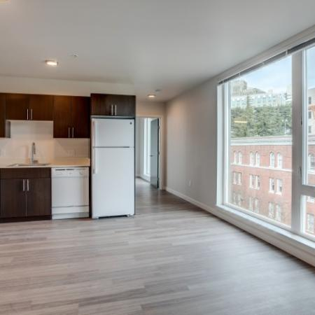 Living Space, Storage, State-of-the-Art Kitchen | HANA Apartments | Apartments Seattle Wa