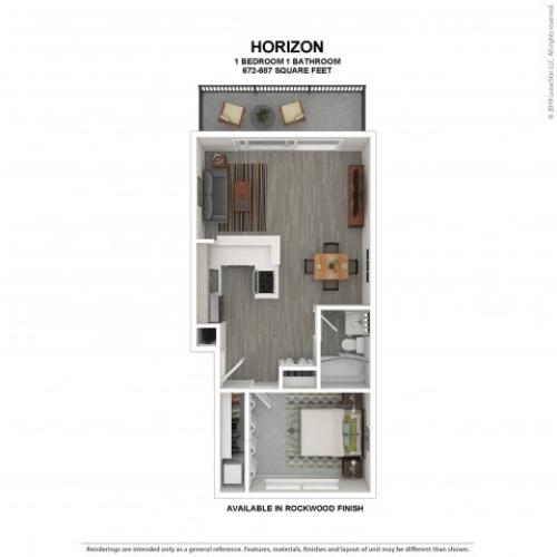 Horizon Floor Plan | Rockwood Finish | 1 Bedroom Floor Plan | Apartments For Rent In Kirkland Wa | The Carillon Apartment Residences