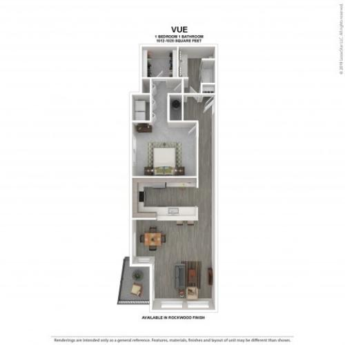 Vue Floor Plan | Rockwood | 1 Bedroom 1 Bath Apartment Floor Plan | Apartments for Rent in Kirkland WA | The Carillon Apartment Residences