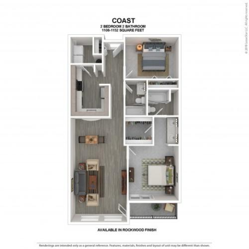 Coast Floor Plan | Rockwood | 2 Bedroom 2 Bath Apartment Floor Plan | Apartments For Rent in Kirkland WA | The Carillon Apartment Residences