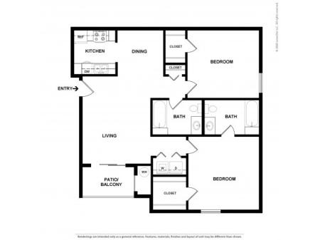 Two Bedroom Floor Plan | Apartments For Rent In Commerce City, CO | Village Crest Apartment Homes