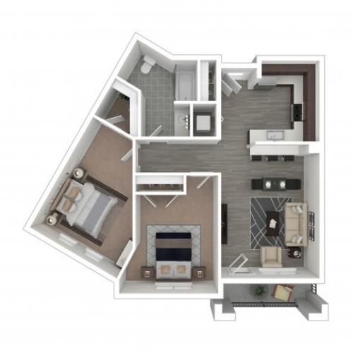2 Bedroom Floor Plan | Apartments Near Hillsboro Oregon | Tessera at Orenco Station