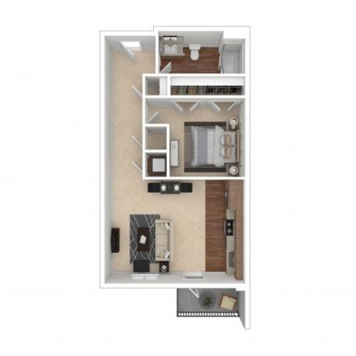 1 Bedroom Floor Plan | Crossroads at the Gulch | Apartments In Nashville