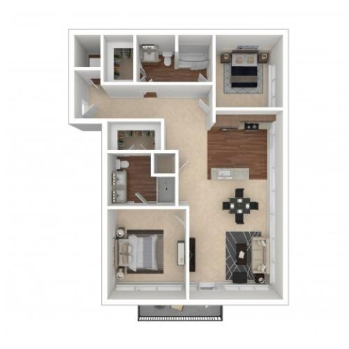 Floor Plan 10 | Crossroads at the Gulch | Nashville Apartments For Rent