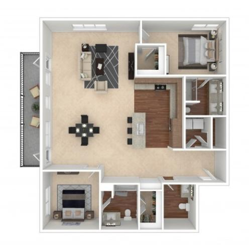 The Taylor | Floor Plan | Crossroads at the Gulch | Apartments In Nashville TN