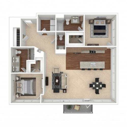 The Collins Floor Plan | Floor Plan 15 | Crossroads at the Gulch | Nashville Apartments For Rent